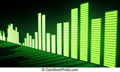 Music control levels. Glow acid-green audio equalizer bars...