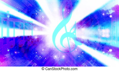 Music cosmic abstract blue magenta and white looping CG HD background