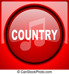 music country red icon plastic glossy button