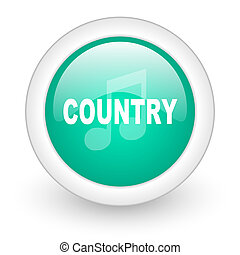 music country round glossy web icon on white background