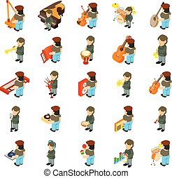Music course icons set, isometric style - Music course icons...