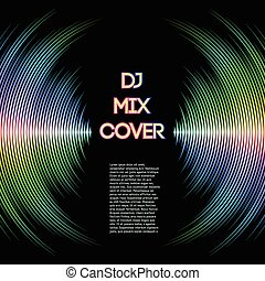 Music cover with waveform as a vinyl grooves - DJ mix cover...