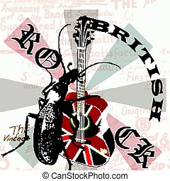 Music creative grunge flyer with GB flag and acoustic guitar.eps