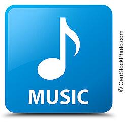 Music cyan blue square button