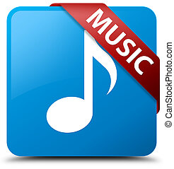 Music cyan blue square button red ribbon in corner