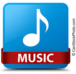 Music cyan blue square button red ribbon in middle