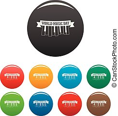 Music day piano key icons set color