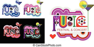 Music decorative text vector design