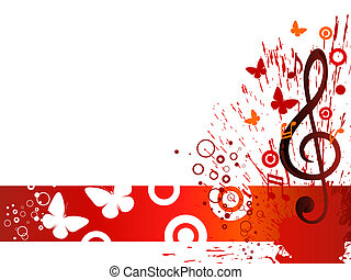 music design - vector illustrtion of a clef on an abstract...