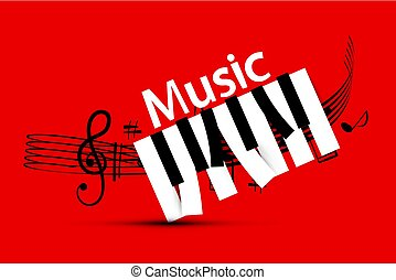 Music Design with Staff and Piano Keys on Red Background