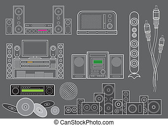 Music devices wire frame set, image is part of my music collection.