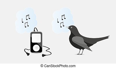 music device with headphones and bird