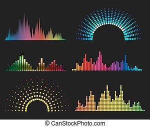 Music digital waveforms. Equalizer sound waves vector ...