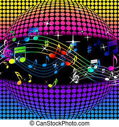 Music Disco Ball Background Showing Colorful Musical And Clubbing