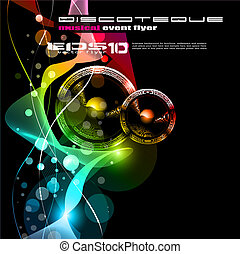 Music Disco Flyer With Raibow Colours