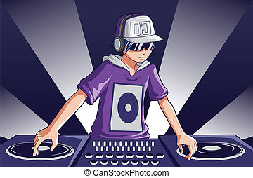 A vector illustration of a music DJ at work