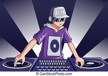 Music DJ - A vector illustration of a music DJ at work