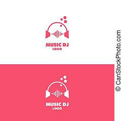 Music dj headphones logo volume