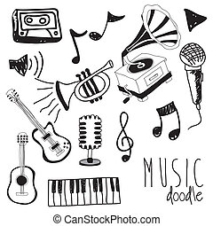 music doddle - music doodle icons over white background...