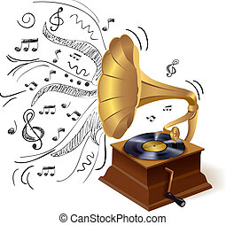 Vintage retro style vinyl gramophone print template with doodle background vector illustration