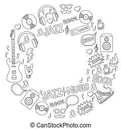 Music doodle vector set