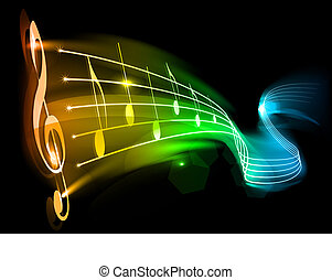 music - Music background - note on the black