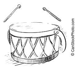 Music drum. Hand drawing vector sketch doodle illustration ...