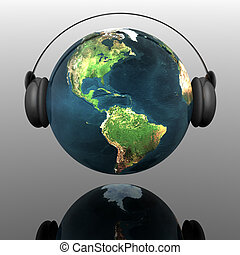 music earth globe with headphones - music planet earth with ...
