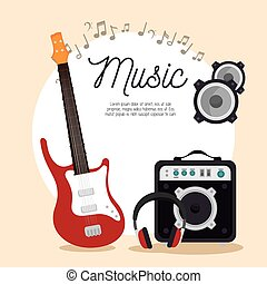 music electric guitar speaker headphone note