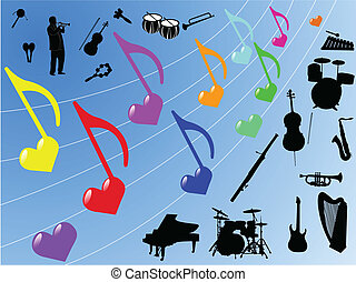 What Are The Different Elements Of Art : Music elements different pop art symbols and design vector