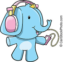 Music Elephant Vector Illustration