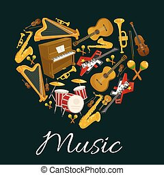 Music emblem of musical instruments in heart shape