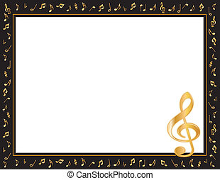Music Entertainment Poster Frame, black border, gold music...
