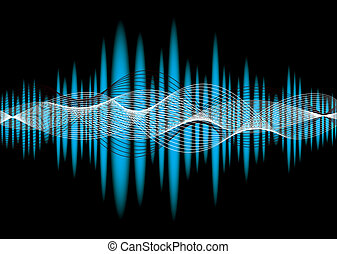 Blue music equalizer abstract background with wave effect