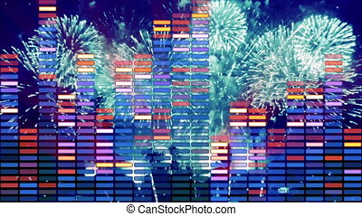 music equalizer and firework loopable animation