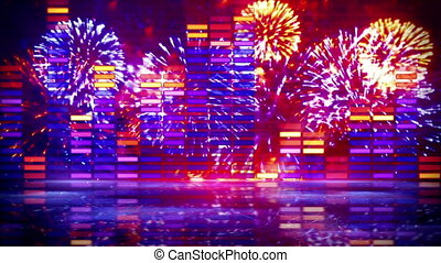 music equalizer and firework seamless loop