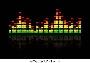 Electronic music equalizer bar, representing music, beat or sound. With a reflection and on a black background.