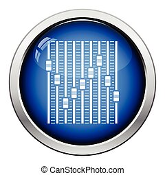 Music equalizer icon. Glossy button design. Vector...