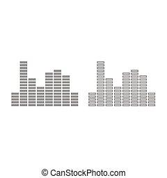 Music equalizer icon. Grey set .