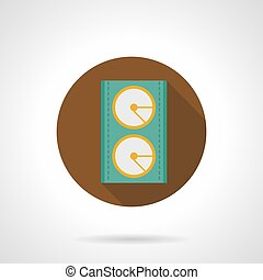 Music equipment brown round vector icon