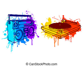 Music equipment. - Boombox and turntable, with colorful...
