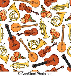 Music equipment instruments seamless pattern