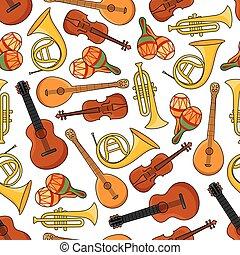 Music equipment instruments seamless pattern