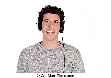 music., escutar, homem