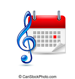Music event icon - Calendar with marked dat and blue shiny...