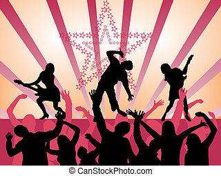 vector illustration of people silhouettes on a disco background