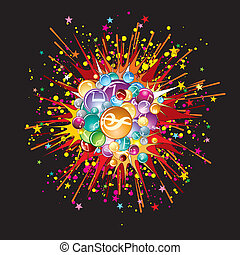 Music explode. Vector image