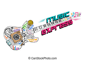 Music Express - illustration of music doddle in shape of...