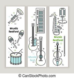 Music festival banner line art set with keyboard, guitar and...