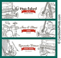 Music festival banner set with music instrument - Jazz and...